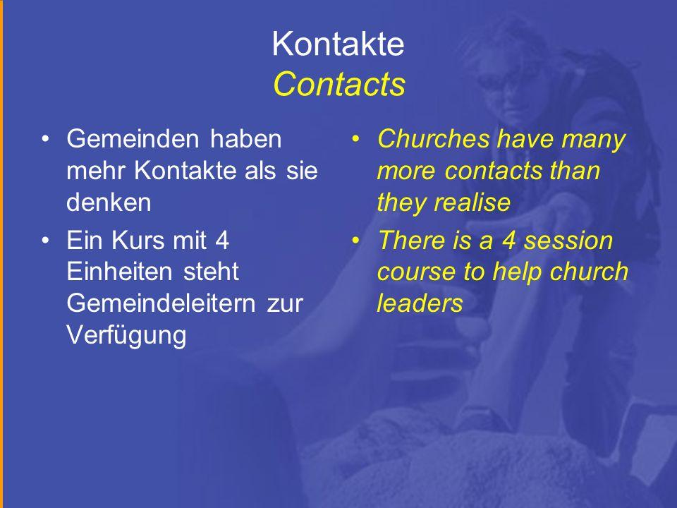 Kontakte Contacts Gemeinden haben mehr Kontakte als sie denken Ein Kurs mit 4 Einheiten steht Gemeindeleitern zur Verfügung Churches have many more co
