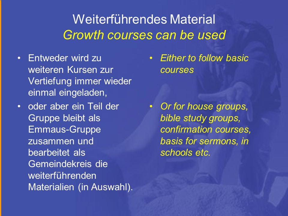 Weiterführendes Material Growth courses can be used Entweder wird zu weiteren Kursen zur Vertiefung immer wieder einmal eingeladen, oder aber ein Teil