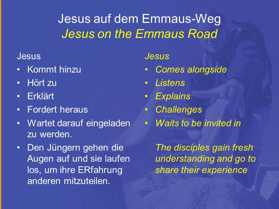 Jesus auf dem Emmaus-Weg Jesus on the Emmaus Road Jesus Kommt hinzu Hört zu Erklärt Fordert heraus Wartet darauf eingeladen zu werden. Den Jüngern geh