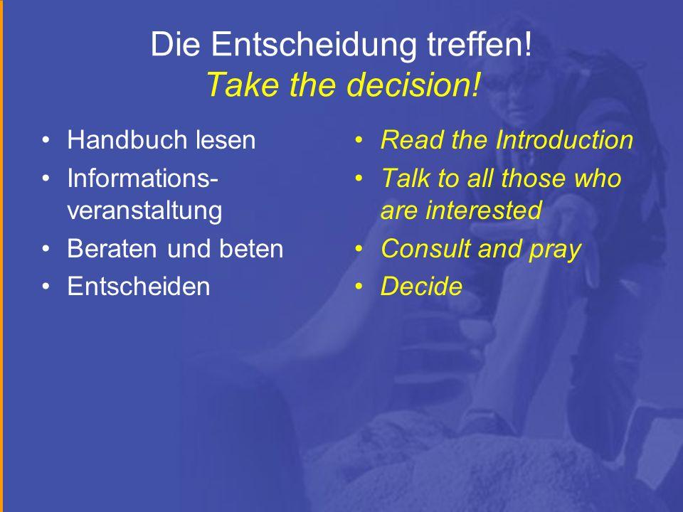 Die Entscheidung treffen! Take the decision! Handbuch lesen Informations- veranstaltung Beraten und beten Entscheiden Read the Introduction Talk to al
