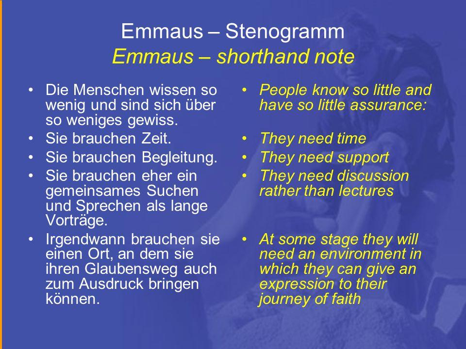 Emmaus – Stenogramm Emmaus – shorthand note Die Menschen wissen so wenig und sind sich über so weniges gewiss. Sie brauchen Zeit. Sie brauchen Begleit