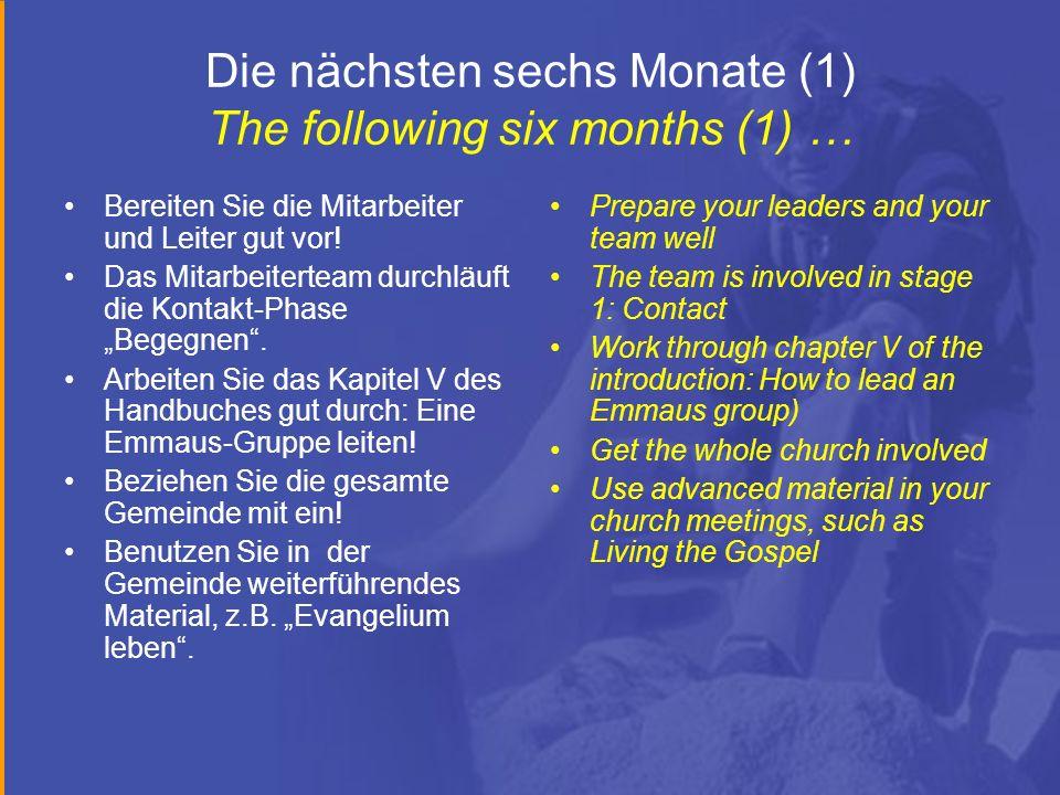 Die nächsten sechs Monate (1) The following six months (1) … Bereiten Sie die Mitarbeiter und Leiter gut vor! Das Mitarbeiterteam durchläuft die Konta
