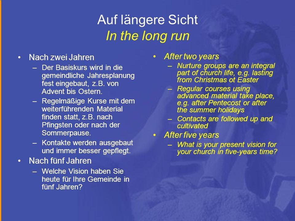 Auf längere Sicht In the long run Nach zwei Jahren –Der Basiskurs wird in die gemeindliche Jahresplanung fest eingebaut, z.B. von Advent bis Ostern. –