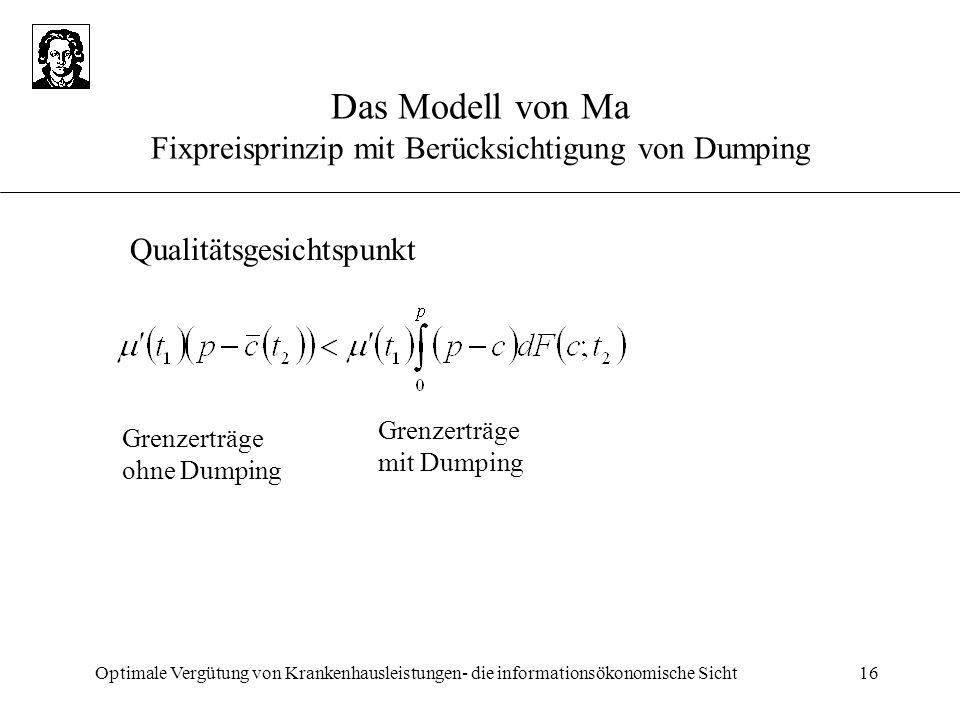 Optimale Vergütung von Krankenhausleistungen- die informationsökonomische Sicht16 Das Modell von Ma Fixpreisprinzip mit Berücksichtigung von Dumping G