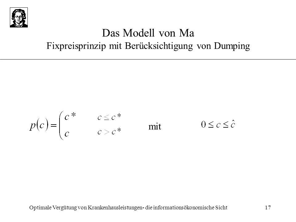 Optimale Vergütung von Krankenhausleistungen- die informationsökonomische Sicht17 Das Modell von Ma Fixpreisprinzip mit Berücksichtigung von Dumping m