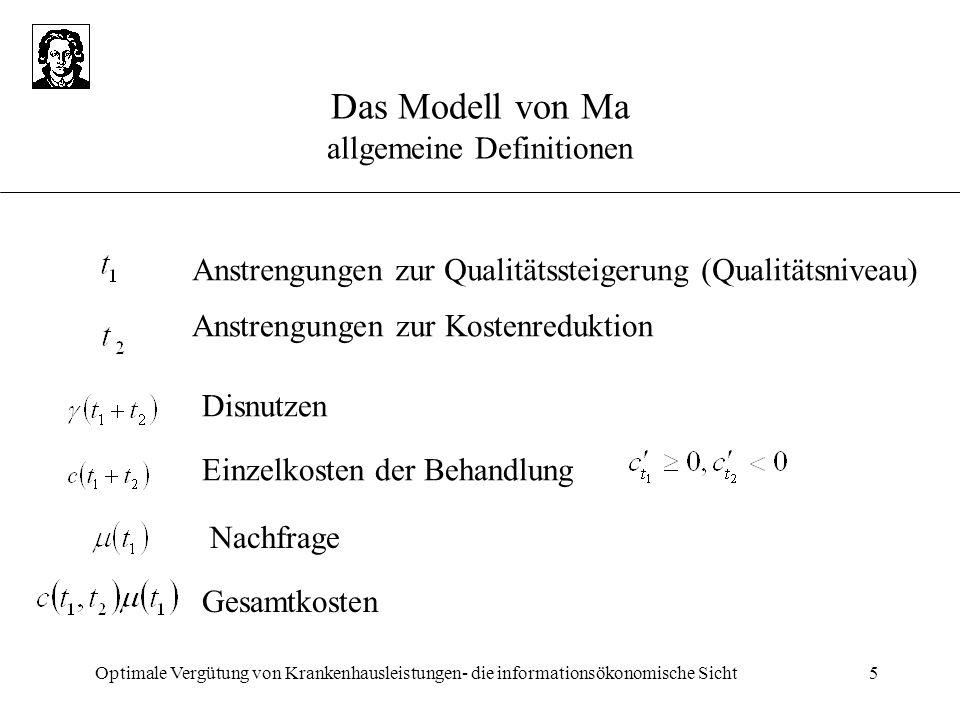 Optimale Vergütung von Krankenhausleistungen- die informationsökonomische Sicht5 Das Modell von Ma allgemeine Definitionen Anstrengungen zur Qualitäts