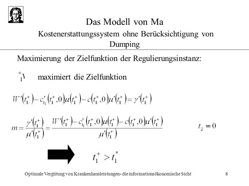 Optimale Vergütung von Krankenhausleistungen- die informationsökonomische Sicht8 Das Modell von Ma Kostenerstattungssystem ohne Berücksichtigung von D