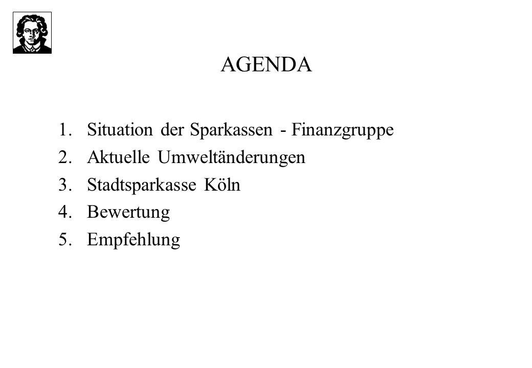 AGENDA 1.Situation der Sparkassen - Finanzgruppe 2.Aktuelle Umweltänderungen 3.Stadtsparkasse Köln 4.Bewertung 5.Empfehlung