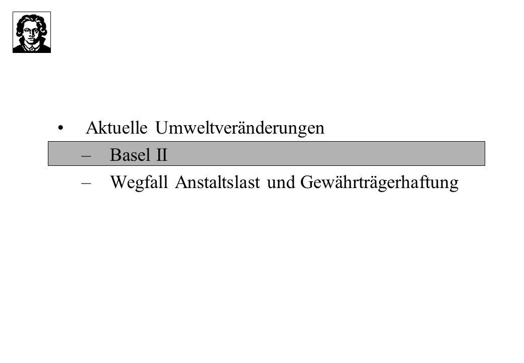 Aktuelle Umweltveränderungen –Basel II –Wegfall Anstaltslast und Gewährträgerhaftung