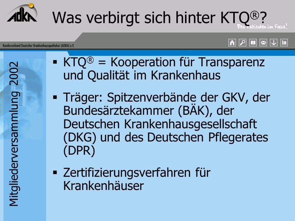 Mitgliederversammlung 2002 KTQ ® -Zertifizierung Strukturierte Selbstbewertung des Krankenhauses anhand des KTQ ® - Kataloges (z.Zt.