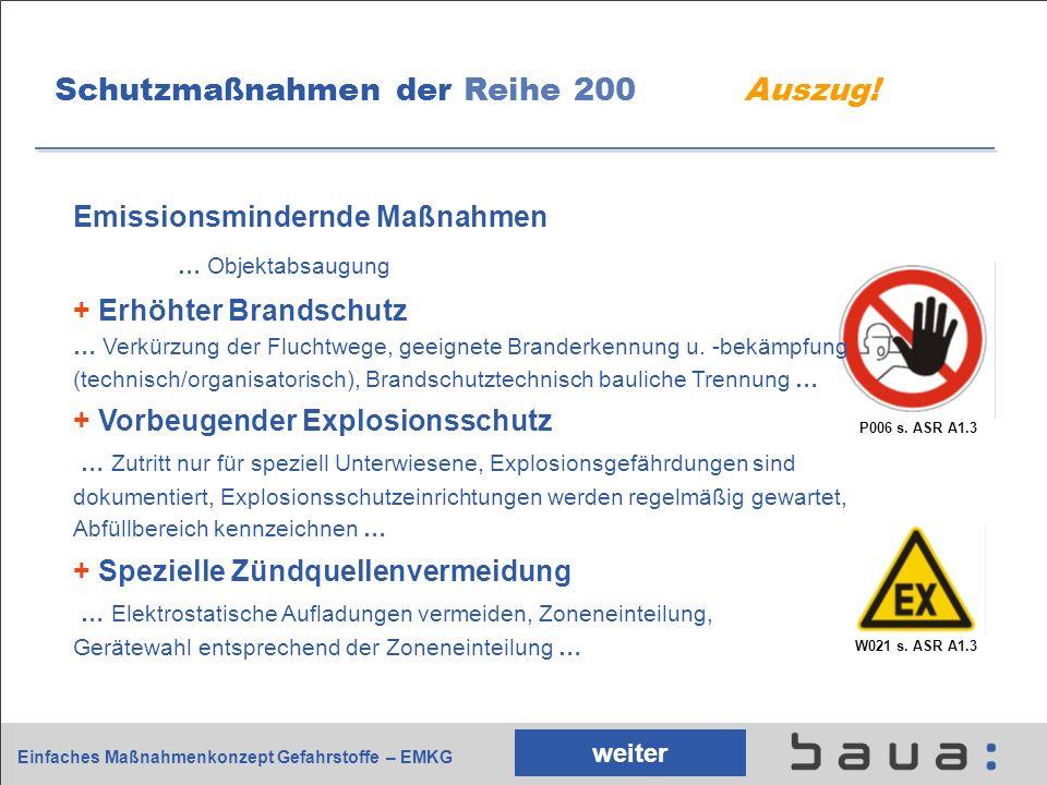 Einfaches Maßnahmenkonzept Gefahrstoffe – EMKG P006 s. ASR A1.3 Schutzmaßnahmen der Reihe 200 Auszug! Emissionsmindernde Maßnahmen … Objektabsaugung +