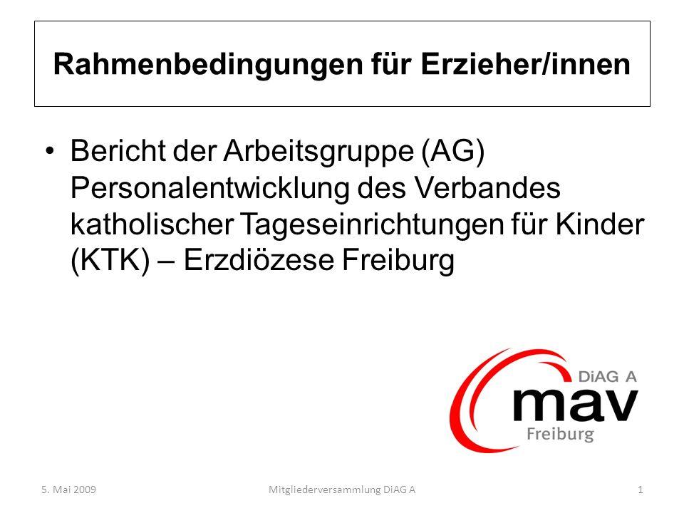Rahmenbedingungen für Erzieher/innen Bericht der Arbeitsgruppe (AG) Personalentwicklung des Verbandes katholischer Tageseinrichtungen für Kinder (KTK)