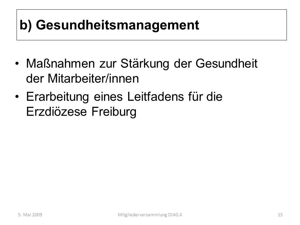 b) Gesundheitsmanagement Maßnahmen zur Stärkung der Gesundheit der Mitarbeiter/innen Erarbeitung eines Leitfadens für die Erzdiözese Freiburg 5. Mai 2