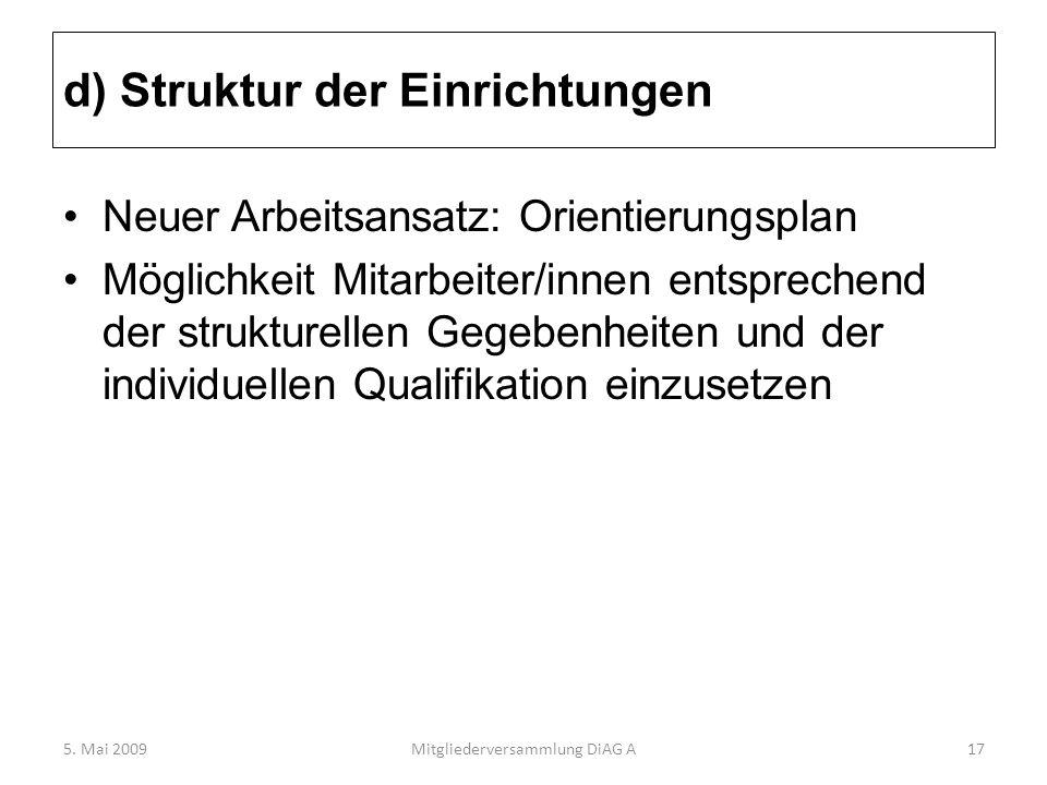 d) Struktur der Einrichtungen Neuer Arbeitsansatz: Orientierungsplan Möglichkeit Mitarbeiter/innen entsprechend der strukturellen Gegebenheiten und de