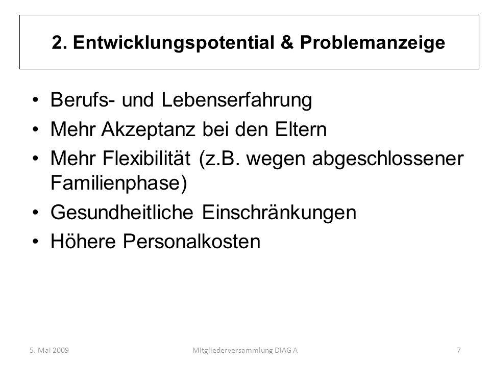 2. Entwicklungspotential & Problemanzeige Berufs- und Lebenserfahrung Mehr Akzeptanz bei den Eltern Mehr Flexibilität (z.B. wegen abgeschlossener Fami
