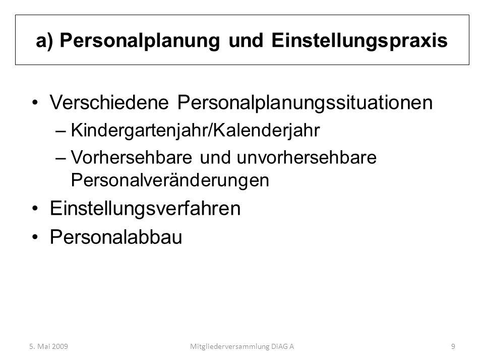 a) Personalplanung und Einstellungspraxis Verschiedene Personalplanungssituationen –Kindergartenjahr/Kalenderjahr –Vorhersehbare und unvorhersehbare P