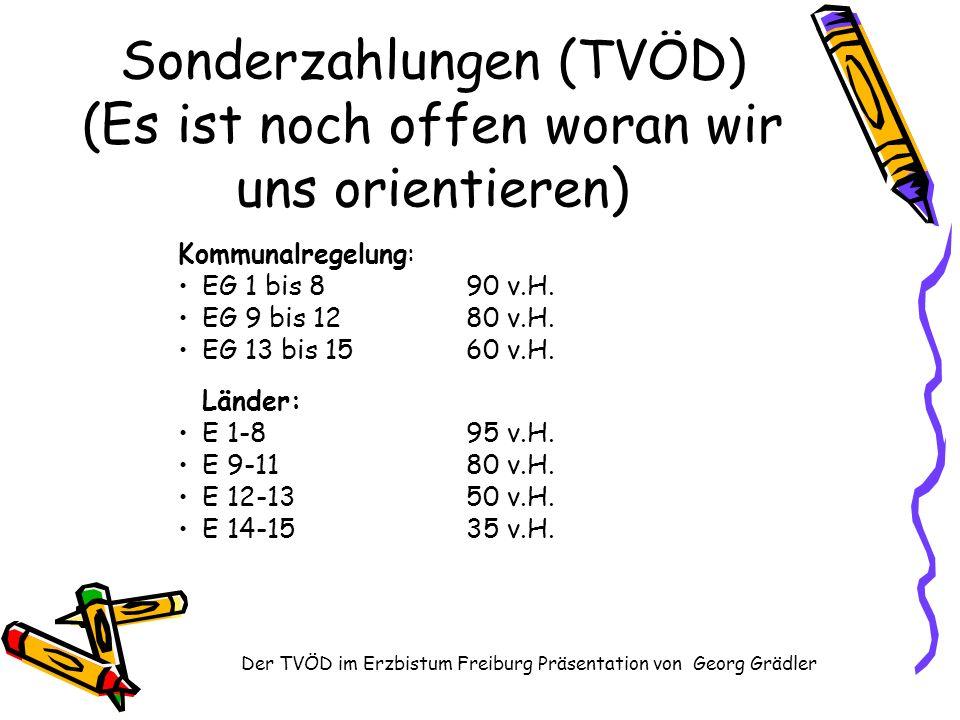 Der TVÖD im Erzbistum Freiburg Präsentation von Georg Grädler Sonderzahlungen (TVÖD) (Es ist noch offen woran wir uns orientieren) Kommunalregelung: EG 1 bis 890 v.H.