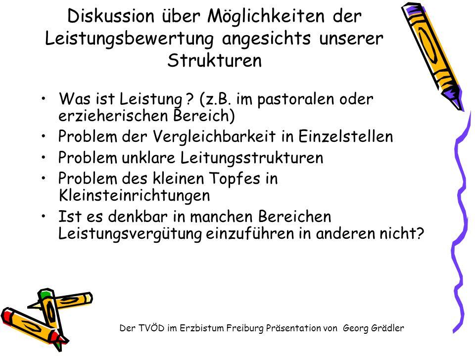 Der TVÖD im Erzbistum Freiburg Präsentation von Georg Grädler Diskussion über Möglichkeiten der Leistungsbewertung angesichts unserer Strukturen Was ist Leistung .