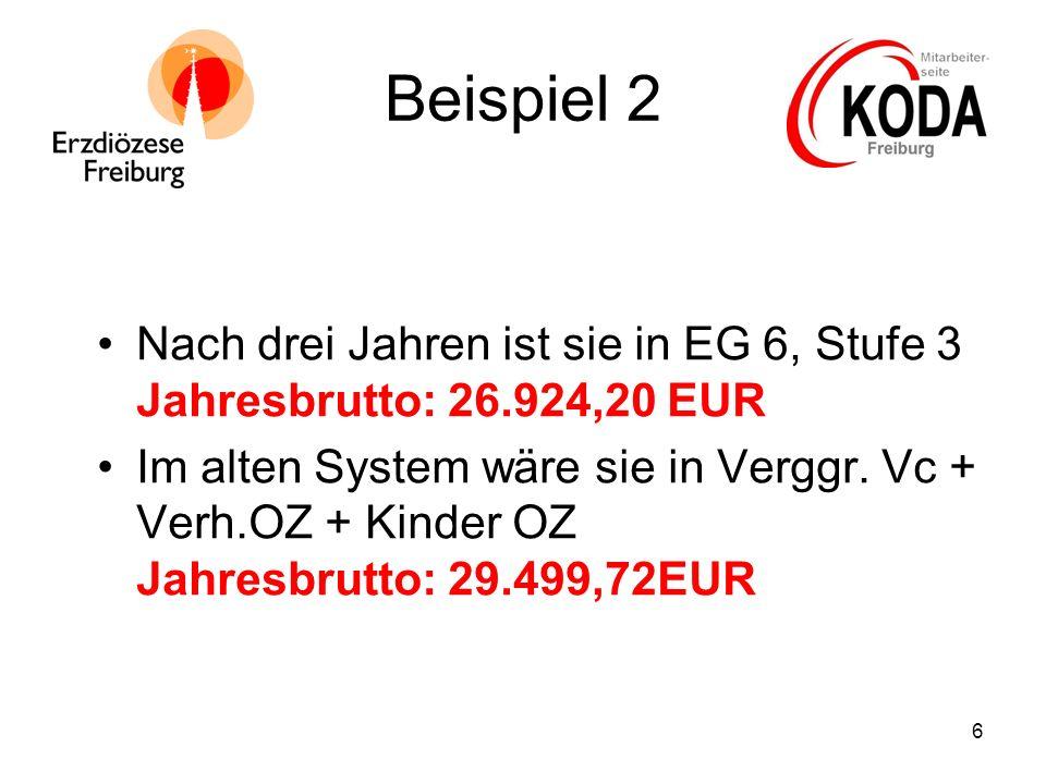 6 Beispiel 2 Nach drei Jahren ist sie in EG 6, Stufe 3 Jahresbrutto: 26.924,20 EUR Im alten System wäre sie in Verggr. Vc + Verh.OZ + Kinder OZ Jahres