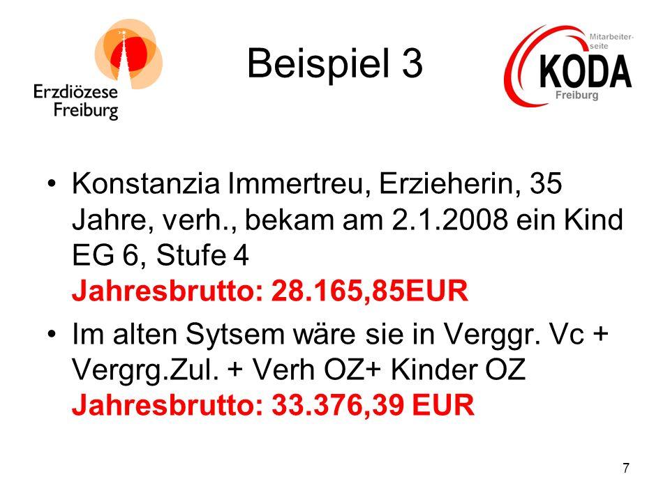 7 Beispiel 3 Konstanzia Immertreu, Erzieherin, 35 Jahre, verh., bekam am 2.1.2008 ein Kind EG 6, Stufe 4 Jahresbrutto: 28.165,85EUR Im alten Sytsem wä