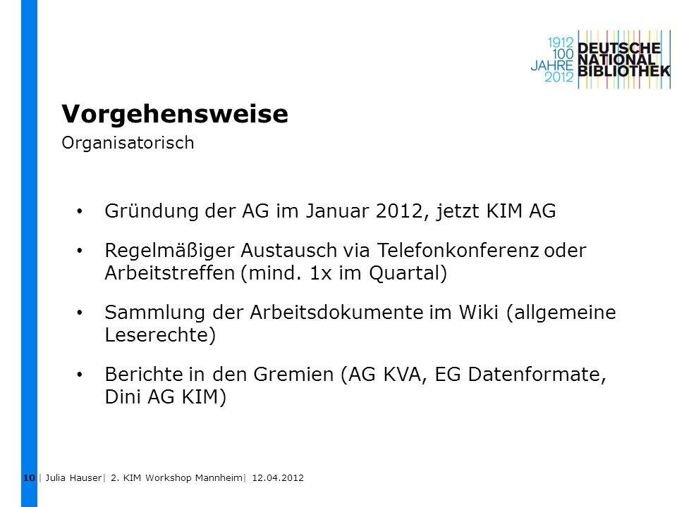 Vorgehensweise Organisatorisch 10 Gründung der AG im Januar 2012, jetzt KIM AG Regelmäßiger Austausch via Telefonkonferenz oder Arbeitstreffen (mind.