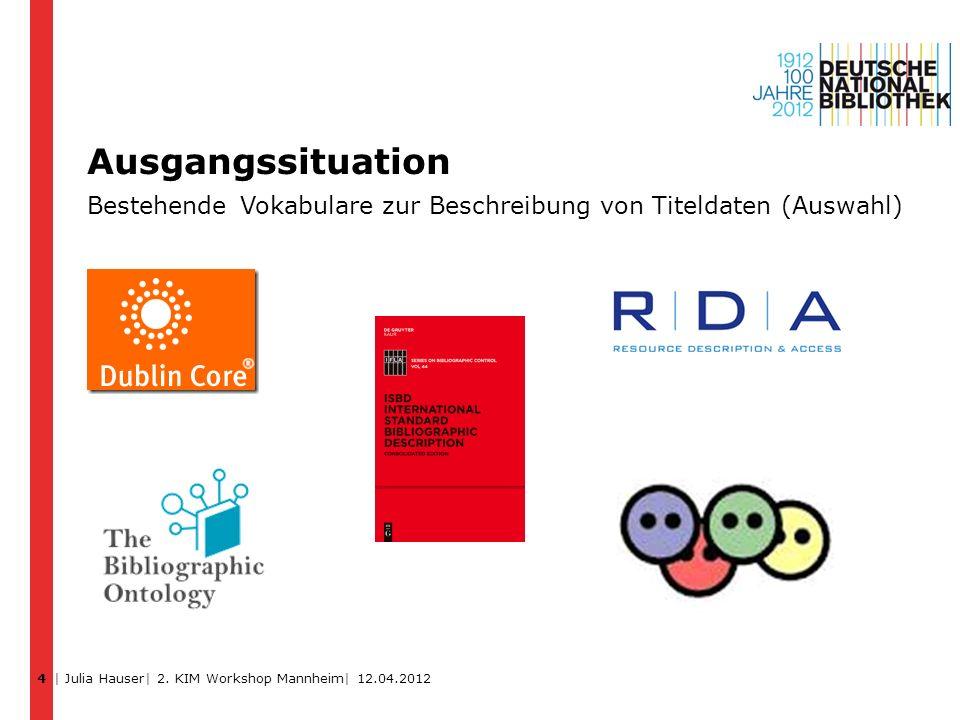 Ausgangssituation Bestehende Vokabulare zur Beschreibung von Titeldaten (Auswahl) 4 | Julia Hauser| 2. KIM Workshop Mannheim| 12.04.2012