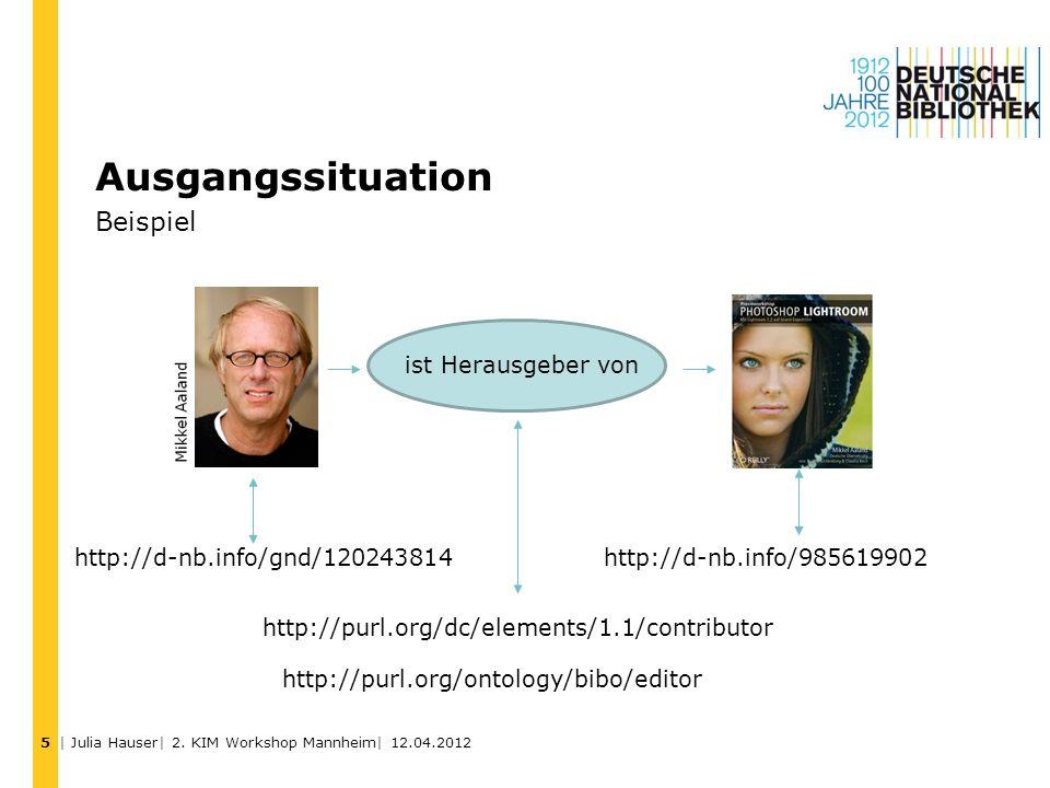 Ausgangssituation Beispiel ist Herausgeber von http://d-nb.info/gnd/120243814 http://d-nb.info/985619902 http://purl.org/dc/elements/1.1/contributor h
