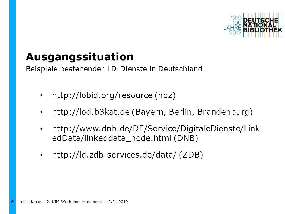 Ausgangssituation Beispiele bestehender LD-Dienste in Deutschland http://lobid.org/resource (hbz) http://lod.b3kat.de (Bayern, Berlin, Brandenburg) ht