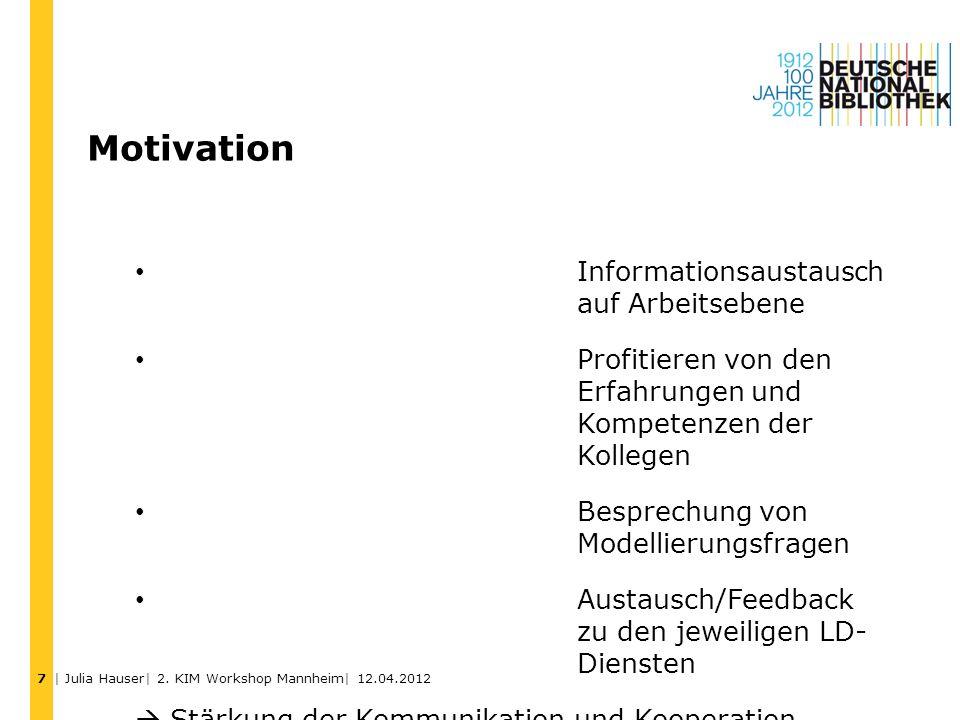 Motivation Informationsaustausch auf Arbeitsebene Profitieren von den Erfahrungen und Kompetenzen der Kollegen Besprechung von Modellierungsfragen Aus