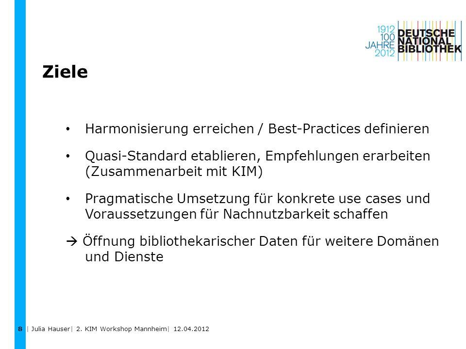 Ziele Harmonisierung erreichen / Best-Practices definieren Quasi-Standard etablieren, Empfehlungen erarbeiten (Zusammenarbeit mit KIM) Pragmatische Um