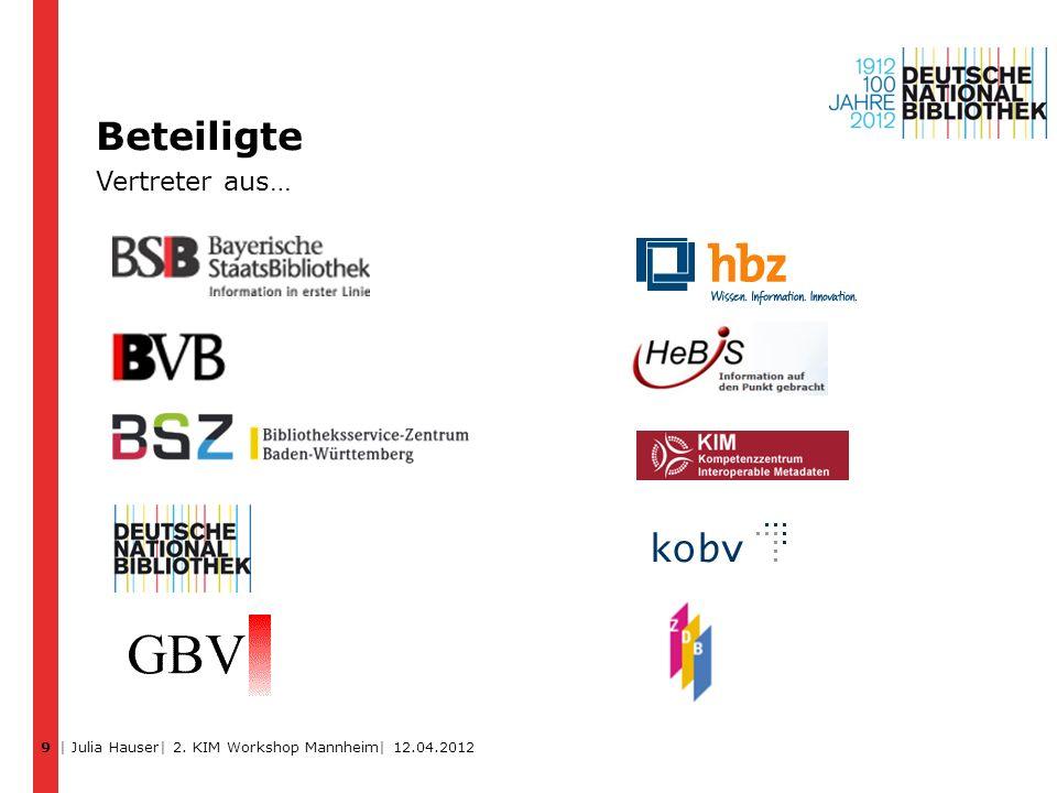 Beteiligte Vertreter aus… 9 | Julia Hauser| 2. KIM Workshop Mannheim| 12.04.2012