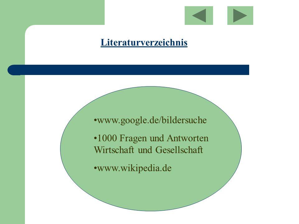 Literaturverzeichnis www.google.de/bildersuche 1000 Fragen und Antworten Wirtschaft und Gesellschaft www.wikipedia.de