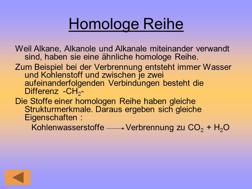 Homologe Reihe Weil Alkane, Alkanole und Alkanale miteinander verwandt sind, haben sie eine ähnliche homologe Reihe. Zum Beispiel bei der Verbrennung