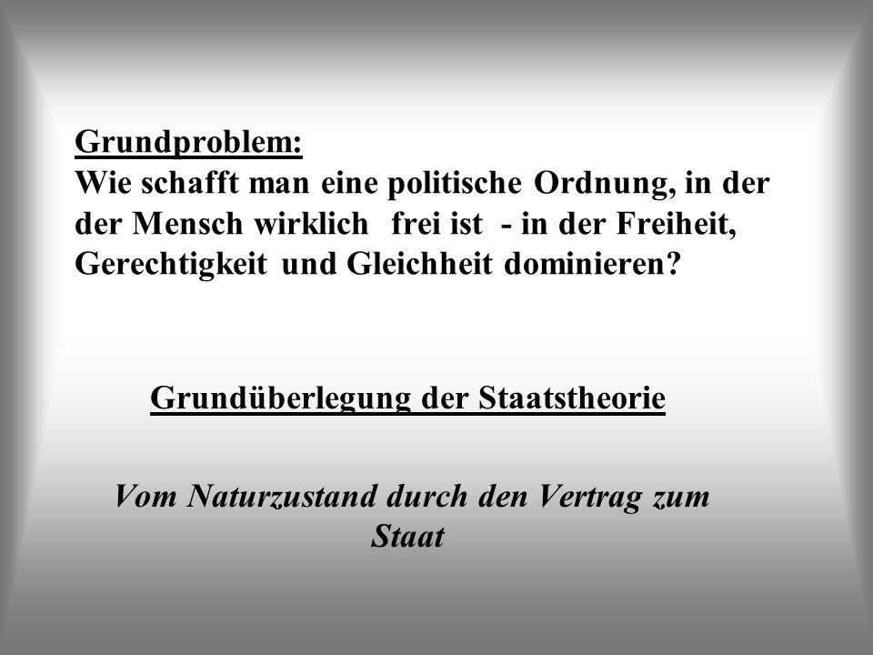 Grundproblem: Wie schafft man eine politische Ordnung, in der der Mensch wirklich frei ist - in der Freiheit, Gerechtigkeit und Gleichheit dominieren?