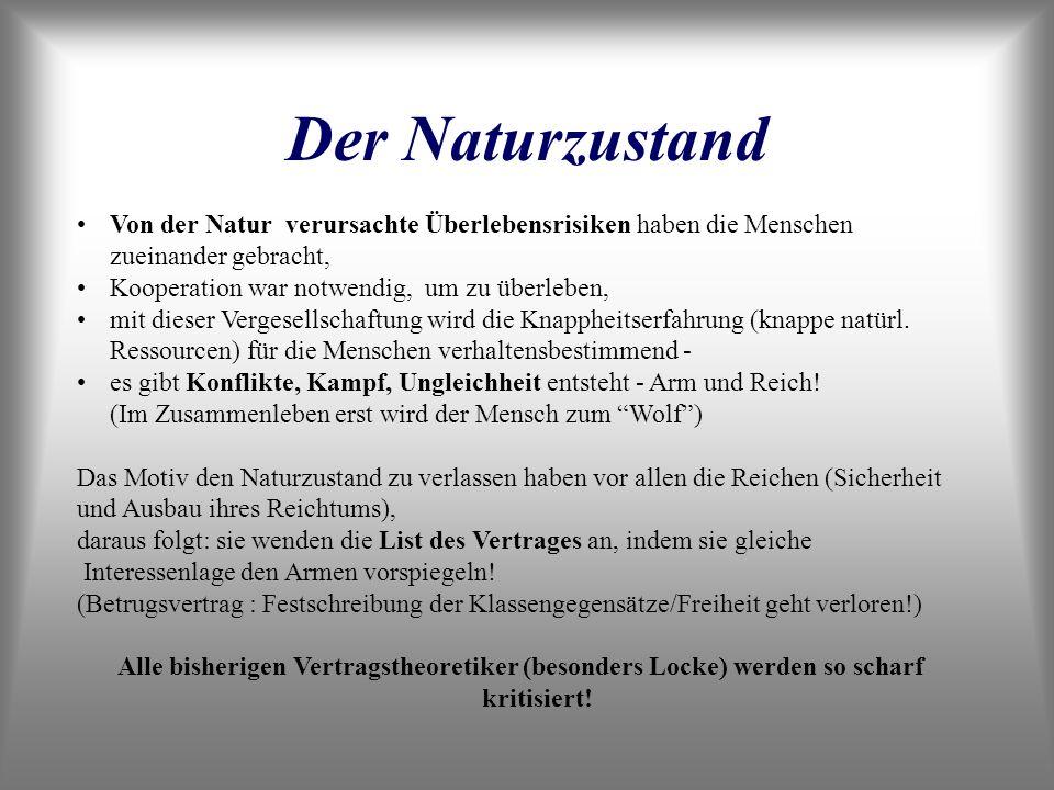 Der Naturzustand (2) Was ist Freiheit bei Rousseau.