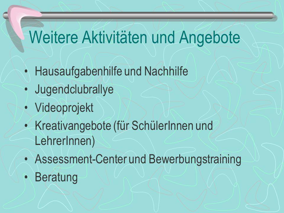 Außerschulische Bildung Streitschlichter-Ausbildung Geschichtsprojekt Auf den Spuren der deutschen Geschichte - Weimar-Fahrt - Kinobesuche - Preußisches Museum - Landtag