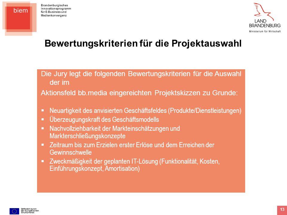 Brandenburgisches Innovationsprogramm für E-Business und Medienkonvergenz Gefördert durch den Europäischen Strukturfonds 13 Die Jury legt die folgende