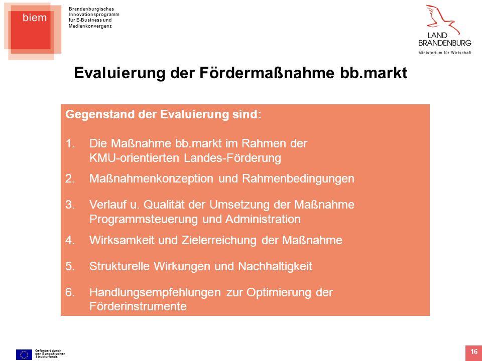 Brandenburgisches Innovationsprogramm für E-Business und Medienkonvergenz Gefördert durch den Europäischen Strukturfonds 16 Gegenstand der Evaluierung