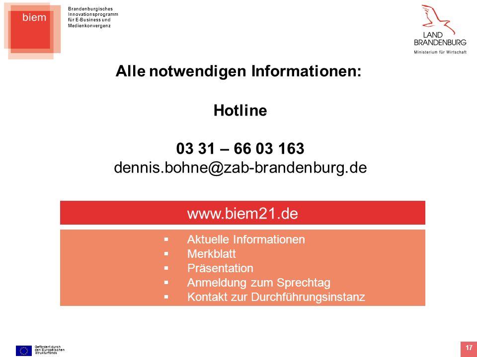Brandenburgisches Innovationsprogramm für E-Business und Medienkonvergenz Gefördert durch den Europäischen Strukturfonds 17 www.biem21.de Aktuelle Inf