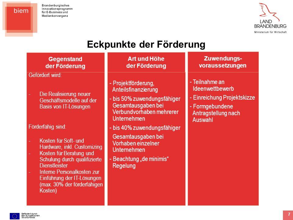 Brandenburgisches Innovationsprogramm für E-Business und Medienkonvergenz Gefördert durch den Europäischen Strukturfonds 8 ZAB Partner Mittelfluss ILB und andere Partner Die Organisationsstruktur für bb.markt Ministerium für Wirtschaft KMU Rechnungs- stellung Für die Durchführung des Ideenwettbewerbs hat das Land Brandenburg eine Durchführungsinstanz beauftragt, die die teilnehmenden Unternehmen schon während der Projektskizze und darüber hinaus betreut und berät.