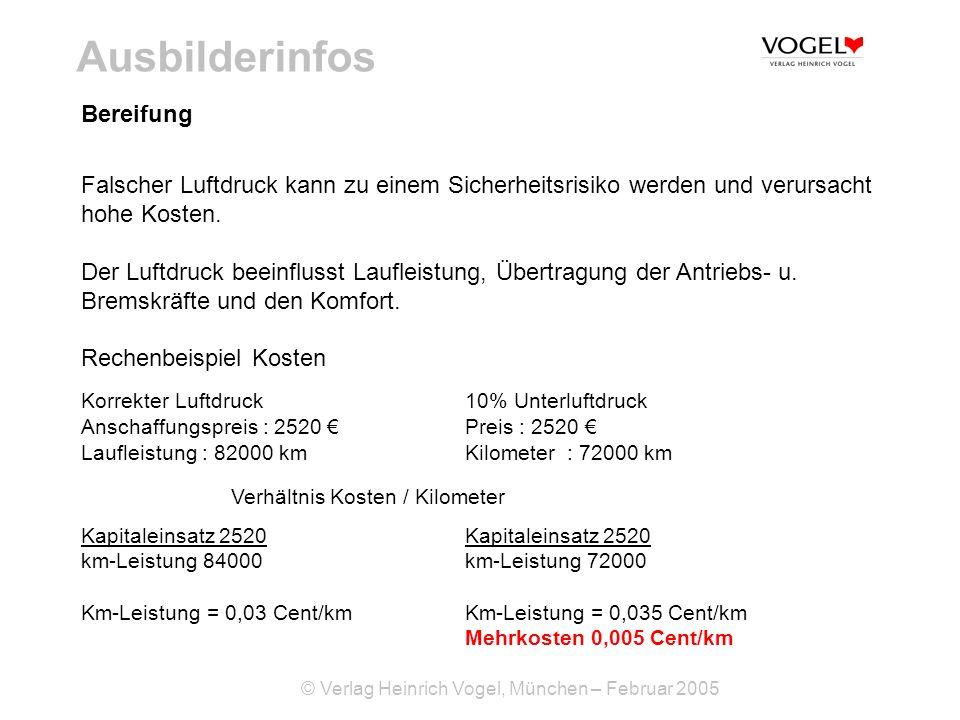© Verlag Heinrich Vogel, München – Februar 2005 Ausbilderinfos Bereifung Falscher Luftdruck kann zu einem Sicherheitsrisiko werden und verursacht hohe
