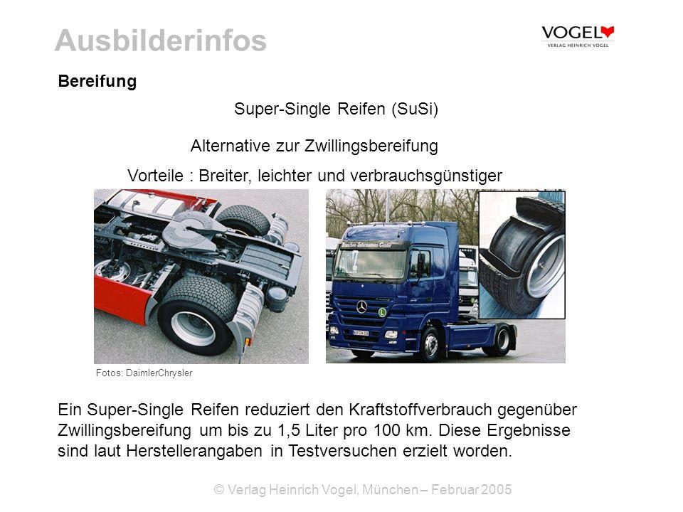 © Verlag Heinrich Vogel, München – Februar 2005 Ausbilderinfos Bereifung Super-Single Reifen (SuSi) Alternative zur Zwillingsbereifung Vorteile : Brei