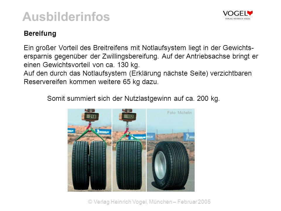 © Verlag Heinrich Vogel, München – Februar 2005 Ausbilderinfos Bereifung Ein großer Vorteil des Breitreifens mit Notlaufsystem liegt in der Gewichts-
