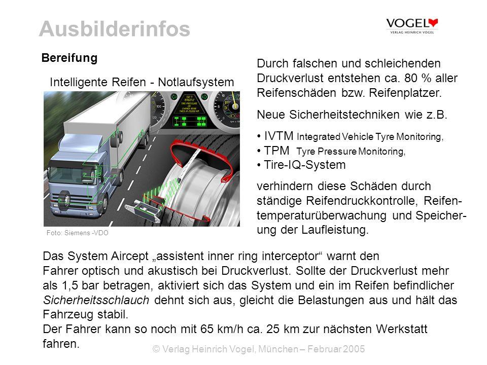 © Verlag Heinrich Vogel, München – Februar 2005 Ausbilderinfos Bereifung Intelligente Reifen - Notlaufsystem Foto: Siemens VDO Durch falschen und schl