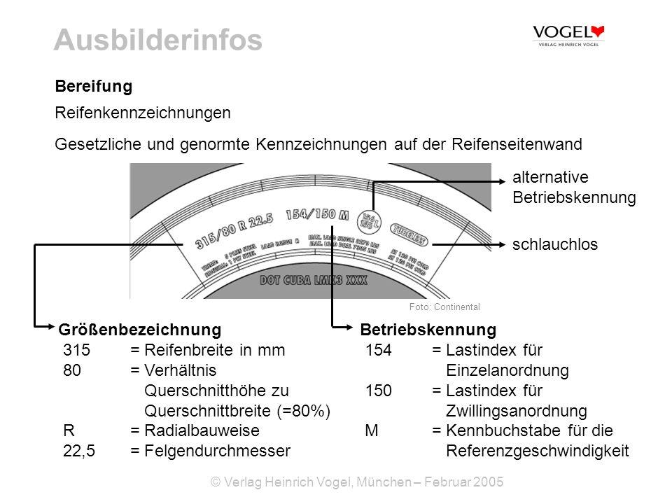 © Verlag Heinrich Vogel, München – Februar 2005 Ausbilderinfos Bereifung Reifenkennzeichnungen Gesetzliche und genormte Kennzeichnungen auf der Reifen