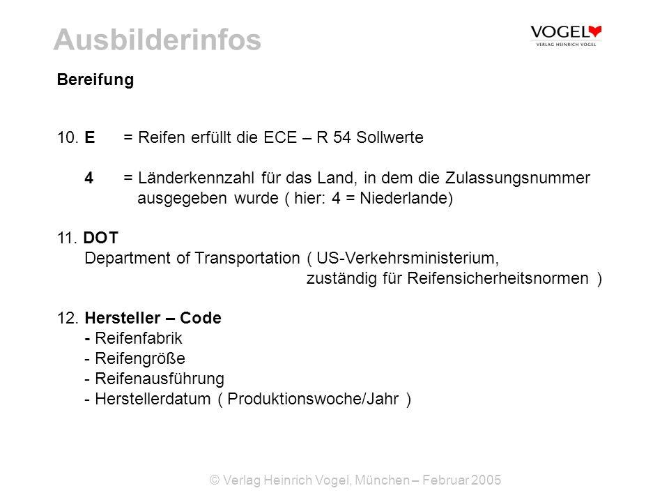 © Verlag Heinrich Vogel, München – Februar 2005 Ausbilderinfos 10. E = Reifen erfüllt die ECE – R 54 Sollwerte 4= Länderkennzahl für das Land, in dem