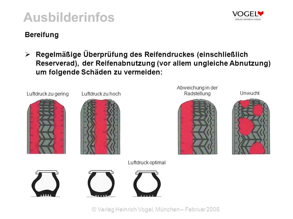 © Verlag Heinrich Vogel, München – Februar 2005 Ausbilderinfos Regelmäßige Überprüfung des Reifendruckes (einschließlich Reserverad), der Reifenabnutz