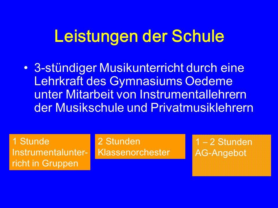 Leistungen der Schule 3-stündiger Musikunterricht durch eine Lehrkraft des Gymnasiums Oedeme unter Mitarbeit von Instrumentallehrern der Musikschule u