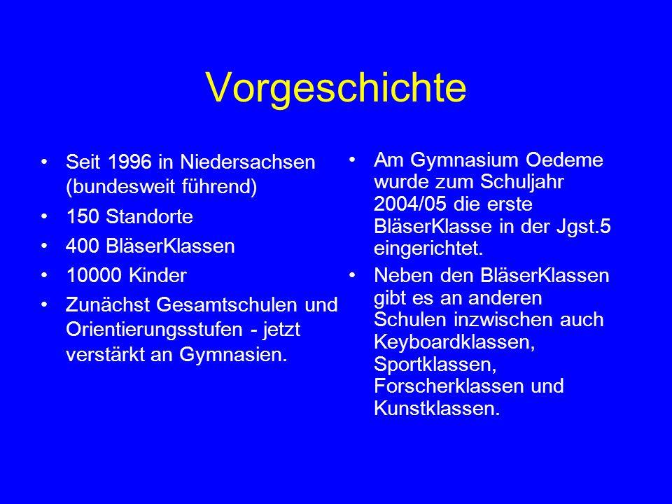 Vorgeschichte Seit 1996 in Niedersachsen (bundesweit führend) 150 Standorte 400 BläserKlassen 10000 Kinder Zunächst Gesamtschulen und Orientierungsstu