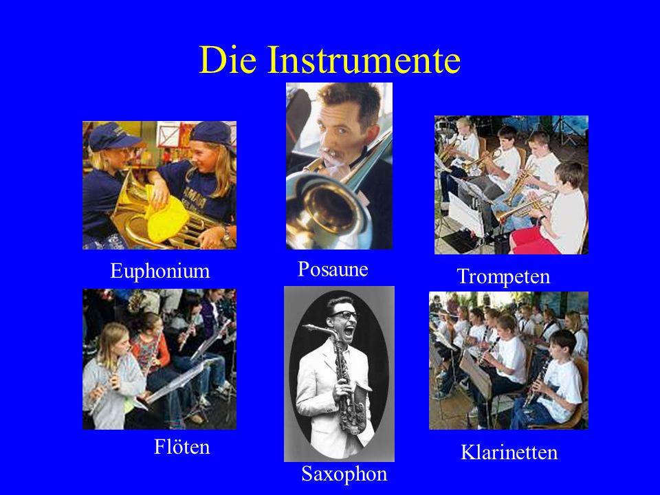 Flöten Trompeten Die Instrumente Klarinetten Euphonium Posaune Saxophon